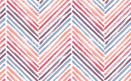 Scribble chevron fashion print vector seamless pattern. Ink brushstrokes geometric stripes. Hand drawn paint texture zig zag chevron backdrop. Stripes lines textile print seamless design.