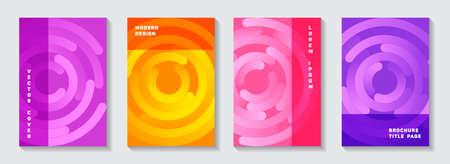 Corporate publication covers design. Tech newsletter circles spiral motion vector backgrounds. Aim goal achievement circles concept. Graphic booklet front pages set.
