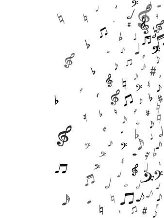 Black flying musical notes isolated on white backdrop. Grayscale musical notation symphony signs, notes for sound and tune music. Vector symbols for melody recording, prints and back layers. Ilustrace
