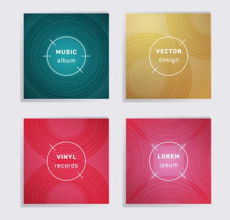 Geometric plate music album covers collection. Semicircle curve lines patterns. Futuristic plate music records covers, vinyl album mockups. DJ records geometric layouts. Techno party posters.