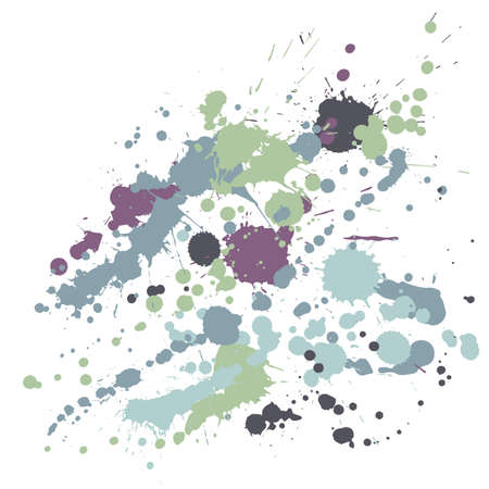 Paint stains grunge background vector. Trendy ink splatter, spray blots, dirty spot elements, wall graffiti. Watercolor paint splashes pattern, smear fluid splats stains background.