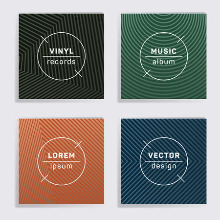 Digital plate music album covers collection. Halftone lines backgrounds. Flat plate music records covers, vinyl album mockups. DJ records geometric layouts. Posters material design.