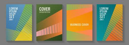 Halftone lines texture vector prints. Colorful halftone gradients for web. Modern gradient folder mockups. School presentation elegant leaflets. Thin stripes blend covers design set.