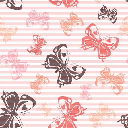 Flying decorative butterfly silhouettes over horizontal stripes vector seamless pattern. Baby clothing fabric print design. Stripes and butterfly winged insect silhouettes seamless wrapping.