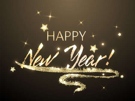 Happy New Year calligraphy holiday banner festive design with gold star sparkles. Black handwritten lettering beautiful font. Happy New Year 2021 greeting card template with calligraphic text. Stock Illustratie