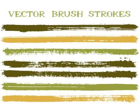 Hipster ink brush strokes isolated design elements. Set of paint lines. Creative Ink brushe stripes isolated on white, vector color scheme samples.