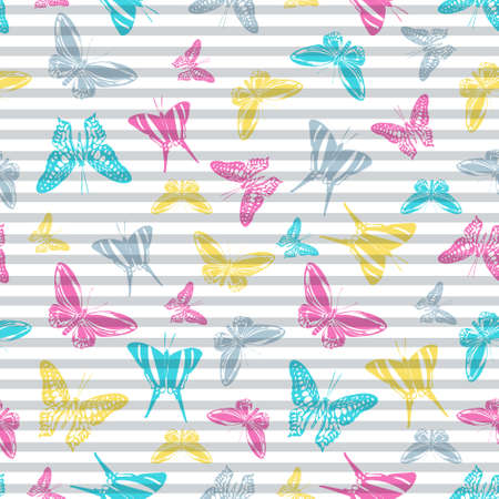 Flying cute butterfly silhouettes over striped background vector seamless pattern. Girlish fashion fabric print design. Lines and butterfly winged insect silhouettes seamless illustration.