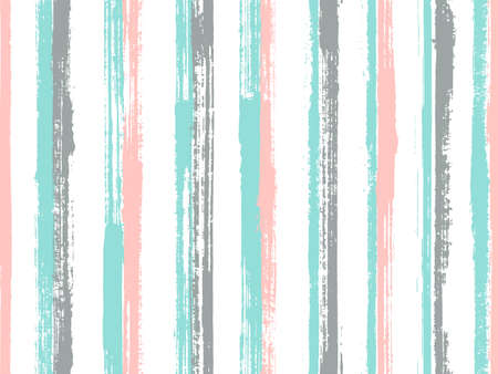 Ink hand drawn rough stripes vector seamless pattern. Cool summer fashion design. Retro geometric rough stripes, lines on white background. Endless backdrop.
