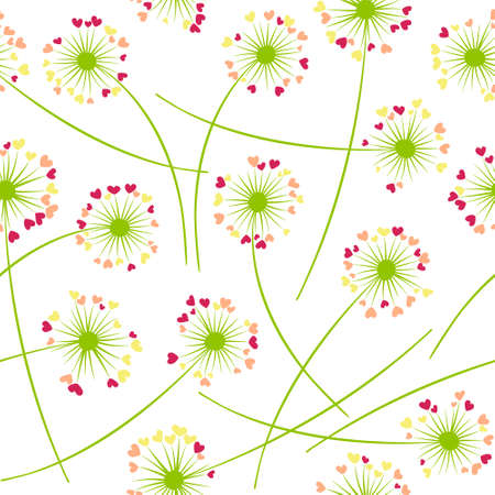 Dandelion blowing plant vector floral seamless pattern. Spring flowers with heart shaped petals. Dandelion herbs meadow flowers floral background design. Meadow blossom fabric print.