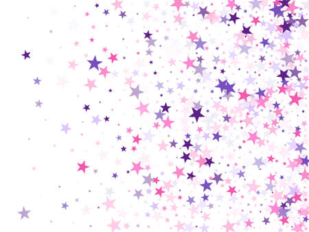 Flying stars confetti holiday vector in pink violet purple on white. Chaotic holiday decor backdrop. Cool flying stars scatter background. Fireworks elements confetti.