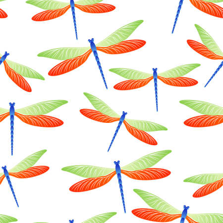 Dragonfly decorative seamless pattern. Repeating dress textile print with darning-needle insects. Isolated water dragonfly vector ornament. Fauna creatures seamless. Damselflies with wings.