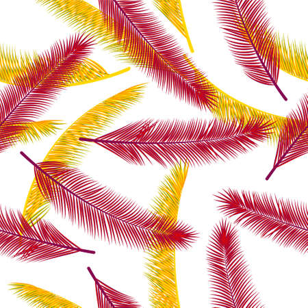 Exotic feather fluff vector pattern. Chic textile print. Tribal boho feather fluff wallpaper seamless ornament.