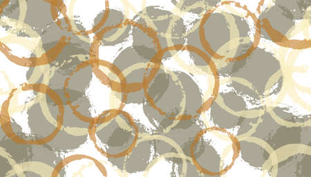 Allover painted circles geometry fabric print. Circular blot overlapping elements vector seamless pattern. Ink texture circles geometry fabric print. Stock Illustratie
