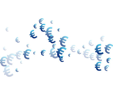Euro blue icons scatter money vector illustration. Marketing pattern. Currency sign euro money isolated signs wallpaper.