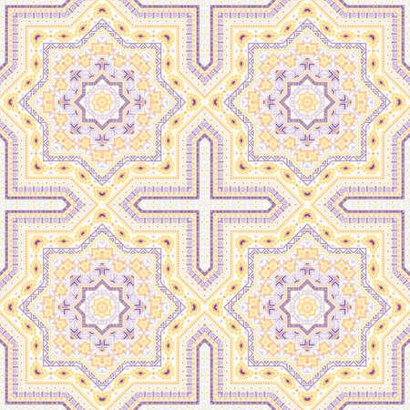 Ornate victorian majolica tile seamless ornament. Ethnic structure vector swatch. Carpet print design. Traditional spanish mayolica tilework repetitive pattern. Floor decor graphic design. Stock Illustratie