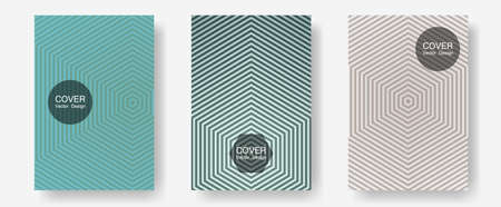 Halftone flat patterns abstract vector set. Business folders branding. Halftone lines annual report templates. Minimalist geometry. Geometric covers of lines gradient flat patterns. Stock Illustratie