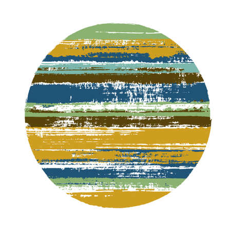 Rough circle vector geometric shape with stripes texture of ink horizontal lines. Old paint texture disc. Stamp round shape circle logo element with grunge stripes background.