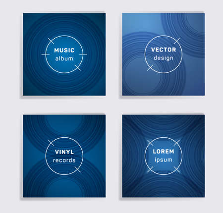 Geometric vinyl records music album covers set. Semicircle curve lines patterns. Futuristic creative vinyl music album covers, disc mockups. DJ records geometric layouts. Posters material design.