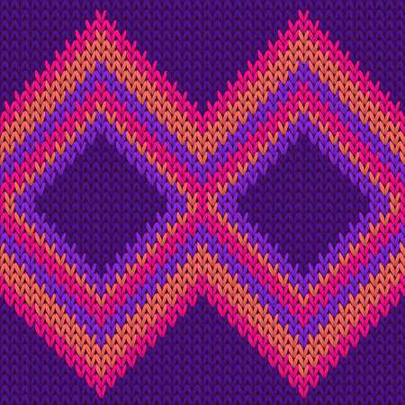 Cotton rhombus argyle knit texture geometric seamless pattern. Scarf hosiery textile print. Fashionable seamless knitted pattern. Repeatable background.