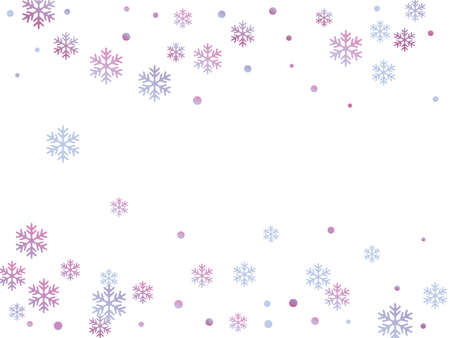 Winter snowflakes and circles border vector graphics. Unusual gradient snow flakes isolated poster background. New Year card border winter pattern with cute snowflake elements isolated. Stock Illustratie