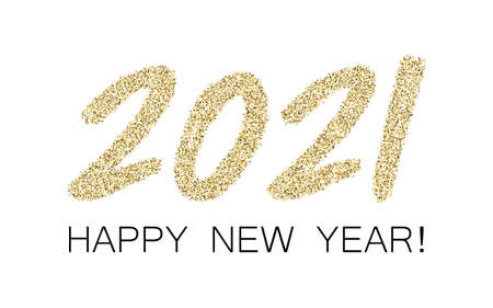 Golden 2021 Happy New Year vector banner. Confetti particles font calligraphy. Happy New Year wishes, 2021 of confetti scatter. Premium banner. Stock Illustratie