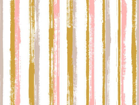 Watercolor brush stroke straight lines vector seamless pattern. Abstract linen fabric print design. Retro texture straight lines, stripes background graphics. Repeatable ornament.