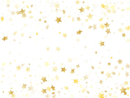 Flying gold star sparkle vector with white background. Cool gold gradient christmas sparkles glitter geometric star pattern. Holiday confetti glitter flying pattern. Illustration