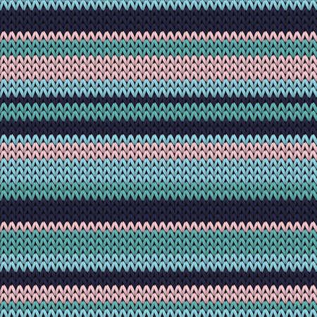 Fairisle horizontal stripes christmas knit geometric vector seamless. Pullover knitting pattern imitation. Scandinavian style seamless knitted pattern. Fabric canvas illustration.