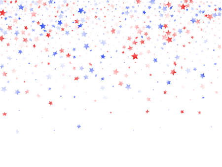 American Memorial Day stars background. Holiday confetti in USA flag colors for Patriot Day. Gradient red blue white stars on white American patriotic vector. 4th of July stardust scatter.
