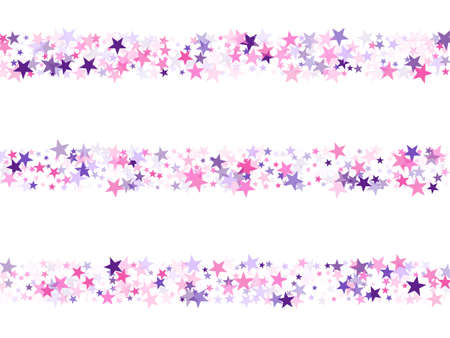 Flying stars confetti holiday vector in pink violet purple on white. Fireworks elements confetti. Trendy stars explosion background. New year festive sparkles design. Illustration
