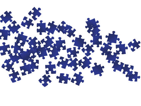 Abstract tickler jigsaw puzzle dark blue parts vector illustration. Scatter of puzzle pieces isolated on white. Problem solving abstract concept. Connection elements.