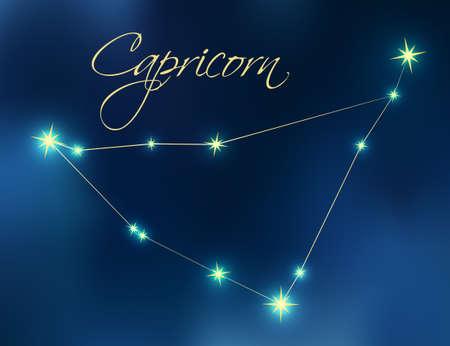 Capricorn constellation astrology vector illustration. Stars in dark blue night sky. Capricorn zodiac constellations sign beautiful starry sky. Capricorn horoscope symbol made of gold stars and lines