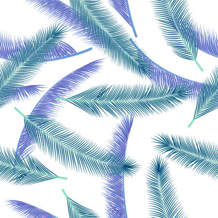 Natural palm tree branches vector pattern. Creative wallpaper. Natural organic palm tree branches fashion print ornament. Stock Illustratie