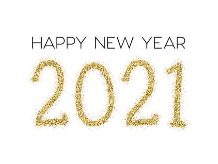 2021 Happy New Year vector greeting card. Gold confetti particles number lettering. Happy New Year wishes, 2021 of gold confetti elements. Chic celebration banner. Stock Illustratie