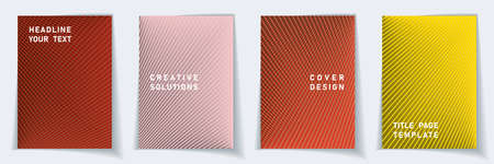 Cover page technical layout vector design set. Halftone lines grid background patterns. Catalog templates. Educational gradient title page graphic collectoin.