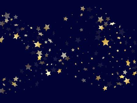 Gold gradient star dust sparkle vector background. Awesome gold star sparkles dust elements on dark blue night sky vector illustration. Holiday starburst flying pattern. Stock Illustratie