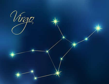 Virgo constellation astrology illustration. Stars in dark blue night sky. Virgo zodiac constellations sign beautiful starry sky. Virgo horoscope symbol made of gold star sparkles and lines.