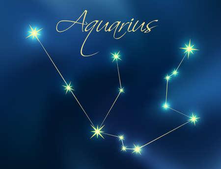 Aquarius constellation astrology vector illustration. Stars in dark blue night sky. Aquarius zodiac constellations sign beautiful starry sky. Aquarius horoscope symbol made of gold stars and lines. Illustration