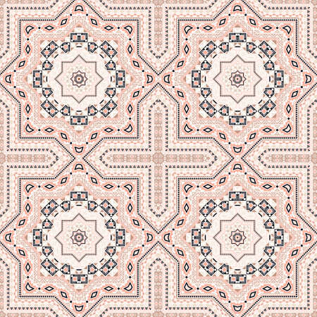 Elegant italian maiolica tile seamless pattern. Ethnic structure vector swatch. Coverlid print design. Classic italian mayolica tilework iterative pattern. Geometric shapes wallpaper.
