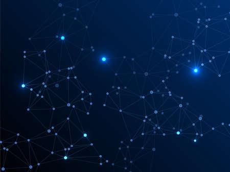 Big data cloud scientific concept. Network nodes plexus dark blue background. Wireframe minimal design. Circle nodes and line elements. Tech vector big data visualization cloud structure.