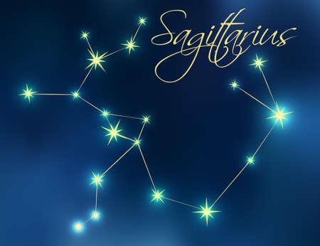 Sagittarius constellation astrology vector illustration. Stars in dark blue night sky. Sagittarius zodiac constellations sign beautiful starry sky. Sagittarius horoscope symbol made of gold stars.
