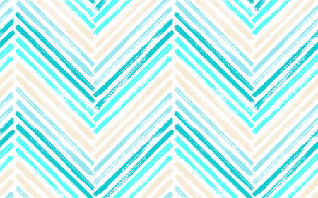 Modern zig zag fashion print vector seamless pattern. Paint brush stroke geometric stripes. Hand drawn paint texture zig zag chevron wallpaper. Watercolor textile print seamless design. Banque d'images - 152537060