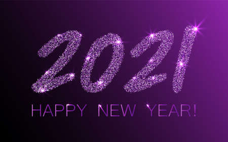 Violet 2021 Happy New Year vector poster. Confetti particles number lettering. Happy New Year wishes, 2021 of confetti scatter. Chic celebration banner.