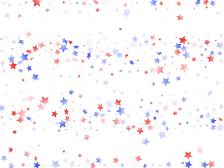 American Memorial Day stars background. Holiday confetti in US flag colors for President Day.  Stylish red blue white stars on white American patriotic vector. Fourth of July stardust scatter.