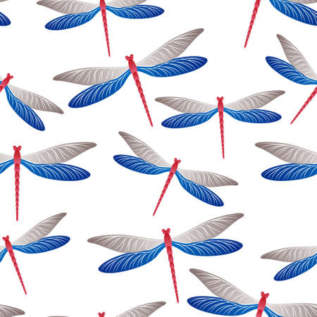 Dragonfly cute seamless pattern. Spring clothes textile print with flying adder insects. Flying water dragonfly vector background. Wildlife beings seamless. Damselflies with wings.