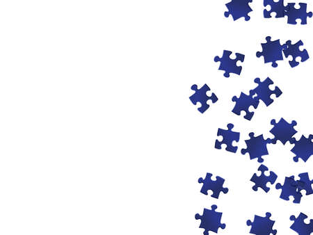 Business mind-breaker jigsaw puzzle dark blue pieces vector background. Scatter of puzzle pieces isolated on white. Problem solving abstract concept. Jigsaw gradient plugins.