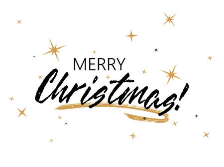 Merry Christmas calligraphy with star sparkles vector banner design. Chic xmas greeting card. Merry Christmas black lettering, gold stars, brush stroke curve line decorative element. Holiday poster