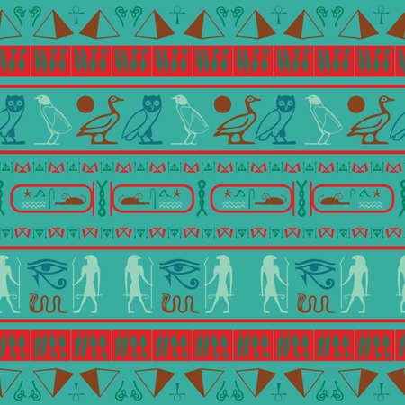 Creative egypt writing seamless background. Hieroglyphic egyptian language symbols template. Repeating ethnical fashion backdrop for brochure or booklet.