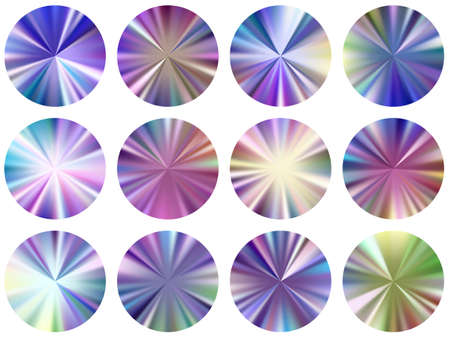 radial metallic gradient label elements vector set. Isolated cool swatches. Banner metal gradient texture backgrounds. Icon backgrounds graphic design. 矢量图像