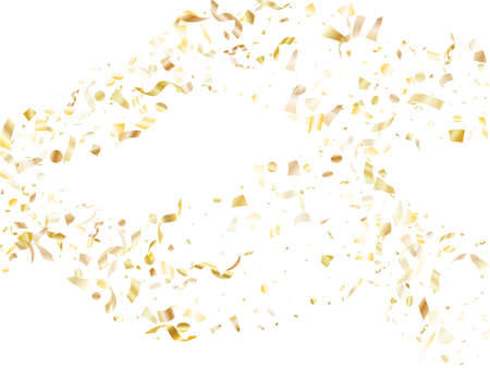 Gold glossy confetti flying on white holiday vector design. Cool flying tinsel elements, gold foil texture serpentine streamers confetti falling party background.